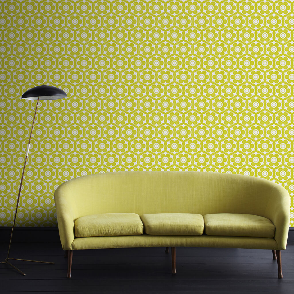 Funky Flora Lime and Ice Wallpaper